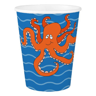 Whimsical Under the Sea Paper Cup, Dark Blue Paper Cup