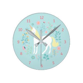 Whimsical Unicorn & Flowers Aqua Round Clock