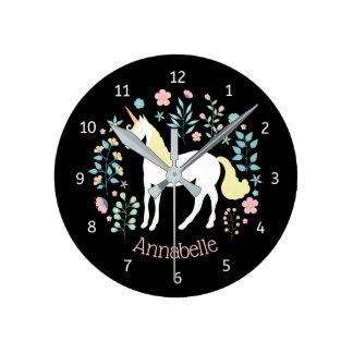 Whimsical Unicorn & Flowers Black Personalized Round Clock