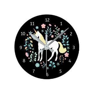 Whimsical Unicorn & Flowers Black Round Clock