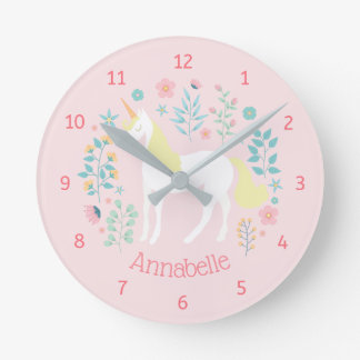 Whimsical Unicorn & Flowers Pink Personalized Round Clock