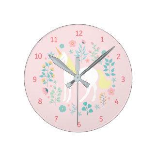 Whimsical Unicorn & Flowers Pink Round Clock