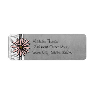 Whimsical Vintage Pink and Grey Daisy Labels