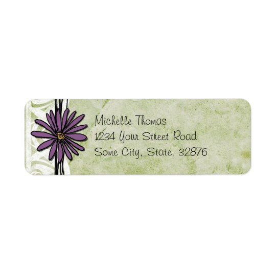 Whimsical Vintage Purple and Green Daisy Return Address Label