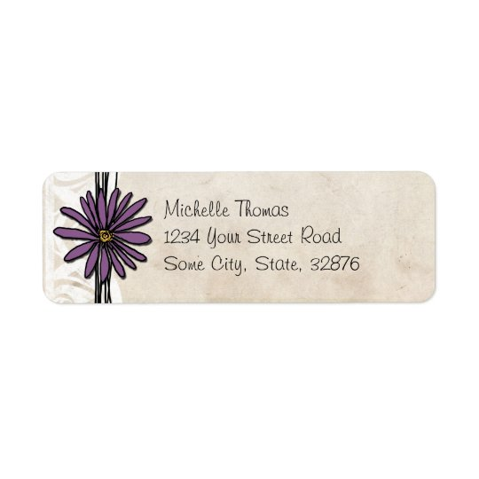 Whimsical Vintage Purple Daisy