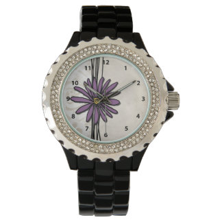 Whimsical Vintage Purple Daisy Watch