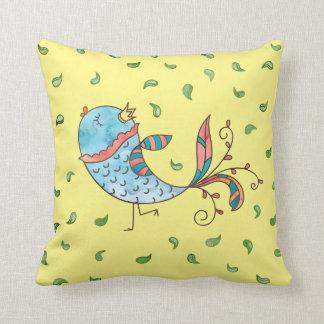 Whimsical Watercolor Bird Cartoon Pillows