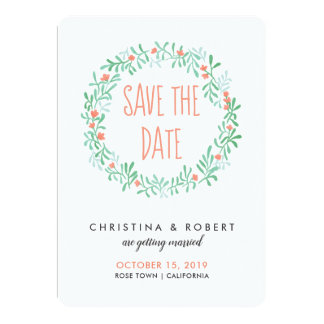 Whimsical Watercolor Floral Wreath | Save The Date Card