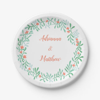 Whimsical Watercolor Floral Wreath Wedding Paper Plate
