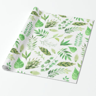 Whimsical Watercolor Green Leaves | Wrapping Paper
