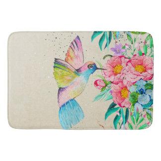 Whimsical watercolor hummingbird and flowers bathroom mat