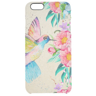Whimsical watercolor hummingbird and flowers clear iPhone 6 plus case