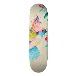 Whimsical watercolor hummingbird and flowers custom skateboard
