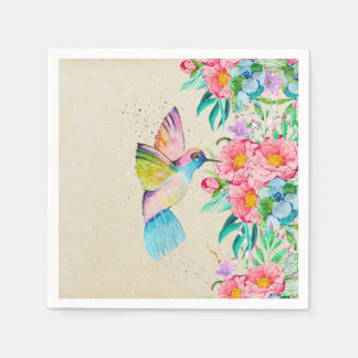 Whimsical watercolor hummingbird and flowers disposable napkins