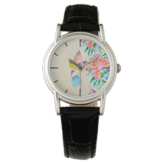 Whimsical watercolor hummingbird and flowers wristwatches