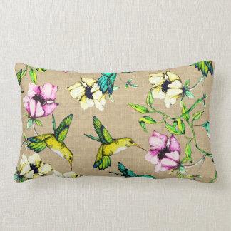 Whimsical Watercolor Hummingbirds & Flowers Lumbar Pillow