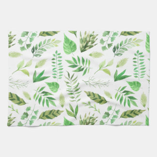 Whimsical Watercolor Leaves Greenery | Kitchen Towel