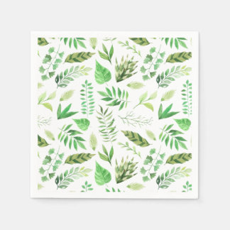 Whimsical Watercolor Leaves Greenery | Paper Napkin