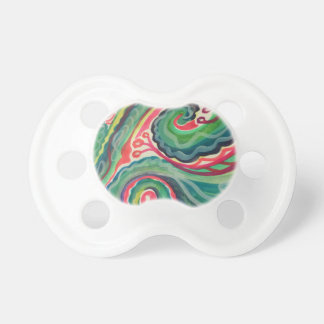 Whimsical Watercolor: Pink and Bright Green Baby Pacifier