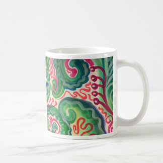 Whimsical Watercolor: Pink and Bright Green II Coffee Mug