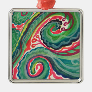 Whimsical Watercolor: Pink and Bright Green Silver-Colored Square Ornament