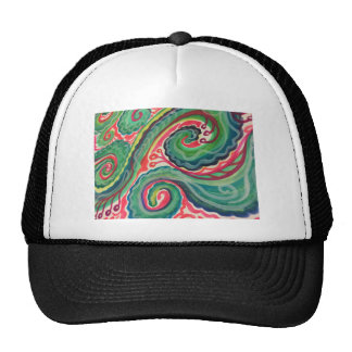Whimsical Watercolor: Pink and Bright Green Trucker Hat