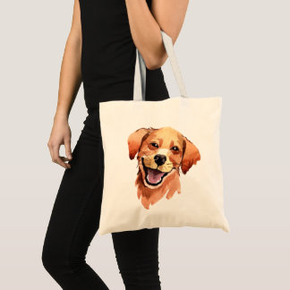 Whimsical Watercolor Print Golden Retriever Dog Tote Bag