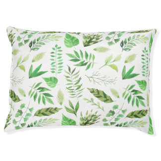 Whimsical Watercolor Various Green Leaves | Pet Bed