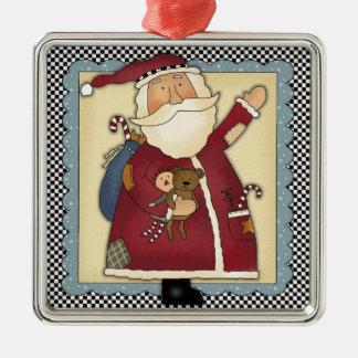 Whimsical Waving Santa Folk Art Christmas Gift Metal Ornament