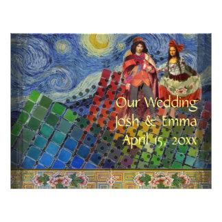 Whimsical Wedding Program Fun Cute colorful Flyer Design