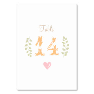 Whimsical Wedding Table Number Card