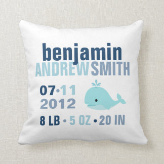 Whimsical Whale Baby Birth Announcement {blue} Throw Pillow