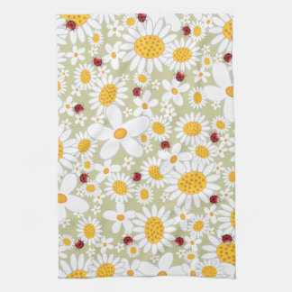 Whimsical White Daisies Flowers Red Ladybugs Cute Kitchen Towel