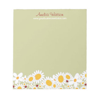 Whimsical White Daisies Ladybugs Flowers Notepad