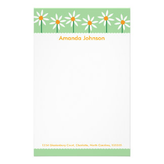 Whimsical White Daisies Personalized Stationery