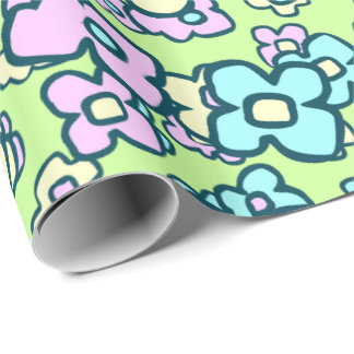 Whimsical Wildflowers Cheerful Floral Spring Green Wrapping Paper