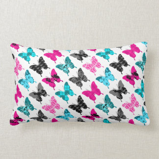 Whimsical Wings: Berries and Blues Lumbar Pillow