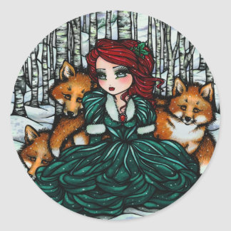 Whimsical Winter Fox Trees Fantasy Fairy Comic Art Round Sticker