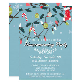 Whimsical Winter Holiday Blue Housewarming Party Card