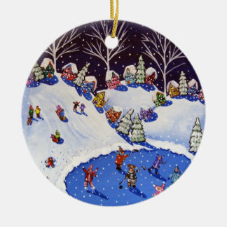 Whimsical Winter Ice Skaters Sled Riders Ornament
