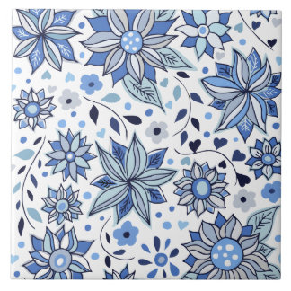 Whimsical Winter Love Flowers Decorative Tile