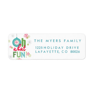 Whimsical winter Oh what fun Return Address Label