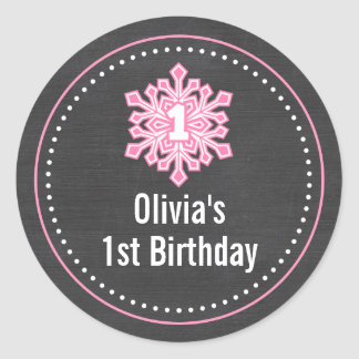 Whimsical Winter Onederland 1st Birthday Name Classic Round Sticker
