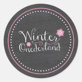 Whimsical Winter Onederland 1st Birthday Round Sticker