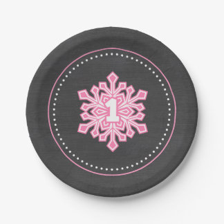 Whimsical Winter Onederland Snowflake Birthday Pin 7 Inch Paper Plate