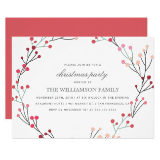Whimsical Winter Wreath Christmas Party Card