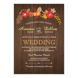 Whimsical Wood & Fall Foliage Wedding Invitation