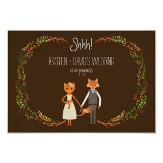 Whimsical Woodland Cat & Fox wedding in Progress Poster