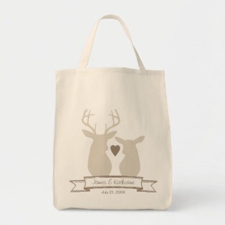 Whimsical Woodland Deer Monogram Wedding Favor Tote Bag
