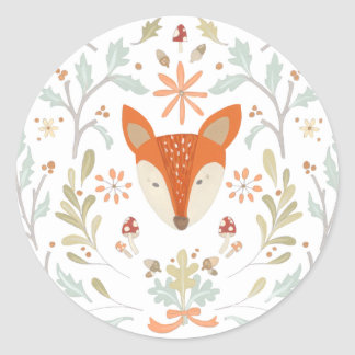 Whimsical Woodland Fox Classic Round Sticker